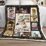 Life Is Better With Cats And Books Sofa Throw Blanket