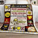 Softball Daughter, Love, Mom Sofa Throw Blanket
