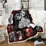 Skull Tattooed Girl Sofa Throw Blanket