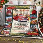 To My Grandson, Love Grandma - Red Truck Sofa Throw Blanket