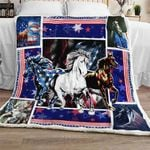 Horses With American Flag Sofa Throw Blanket