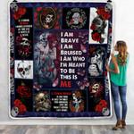 I Am Brave Skull Woman Sofa Throw Blanket PSL991