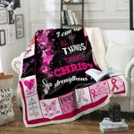 Pink Ribbon I Can Do All Thing Through Christ Sofa Throw Blanket