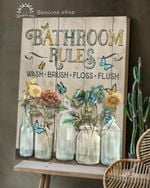 BENICEE Top 3 Bathroom Canvas Decor - Bathroom rules Wall Art Canvas Vintage color
