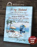 BENICEE Top 5 Custom Name Anniversary Gift Wall Art Canvas - To My Husband Walking On The Beach Blue Version