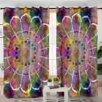 Colorful Galaxy Mandala Flower Curtains