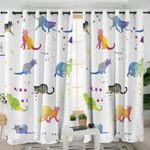 Colorful Cats White Curtains