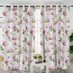 Pink Orchid Gray Curtains