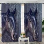 3D Horse Dark Curtains