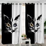 Black White Cat Curtains