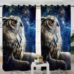 3D Owl Galaxy Curtains
