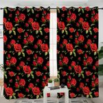 Orange Roses Motif Black Curtains