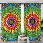 Stylized Concentric Sunflower Curtains