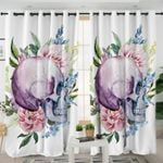 Skull & Flowers White Curtains