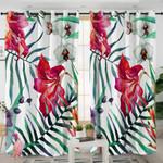 Macroshot Garden Motif White Curtains