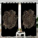 Gold Turtle Mandala Curtains