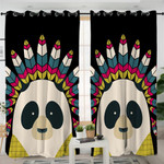 Cartoon Tribal Panda Curtains