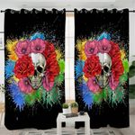 Colorful Flower Skull Themed Curtains
