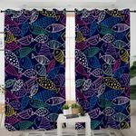Outlined Fish Dark Blue Curtains