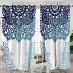 Blue Mandala White Curtains