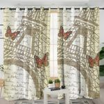 Monarch Butterfly Eiffel Themed Curtains