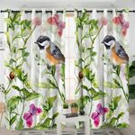 Bird Leaves Themed Curtains