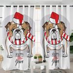 Christmas Bulldog Curtains