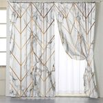 Golden Line Marble Themed Curtains