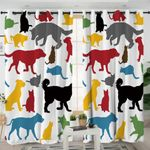 Animal Shapes White Curtains