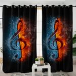 Contrast Treble Clef Curtains