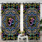 Stylized Ohm Mandala Themed Curtains
