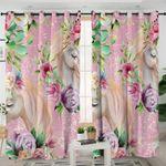 Unicorns Flora Themed Pink Curtains