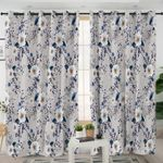 Decorated White Flower Gray Curtains