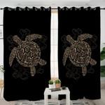 Antique Turtle Black Curtains