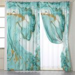 Abstract Turquoise Marble Motif Curtains