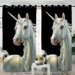 3D Unicorn Black Curtains