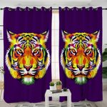 Stylized Tiger Purple Curtains