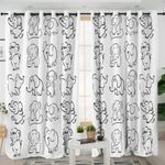 Elephant Moments White Curtains