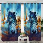Blue Flame Tiger Curtains
