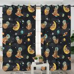 Outer Space Sloth Themed Curtains