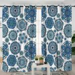 Blue Hypnotizing Mandala Curtains
