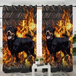 Flame Dog Themed Curtains