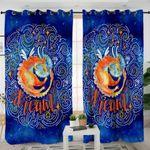 Mythical Ying Yang Dark Blue Curtains