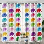 Colored Elephants White Curtains