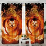 Flame Rose Skull Curtains