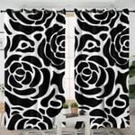 Black Patterned Flower Themed Curtains