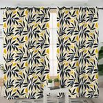 Black & Yellow Leaves Curtains