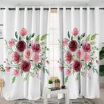 Rose Bouquet White Curtains