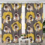 Yellow & Brown Pugs Curtains
