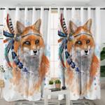 3D Fox White Curtains